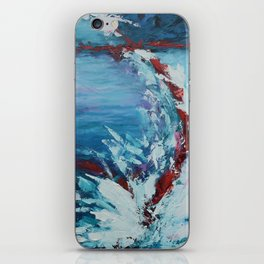 Emergence, abstract artwork, blue and white iPhone Skin