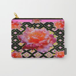 Rose Color Black Needle Point Rose Design Carry-All Pouch