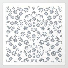 Silver gray symmetric floral bird heart Art Print