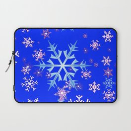 DECORATIVE BLUE  & WHITE SNOWFLAKES PATTERNED ART Laptop Sleeve
