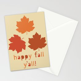 Happy Fall Y'all! Falling maple leaves Stationery Cards