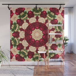 Old Red Rose Kaleidoscope 7 Wall Mural