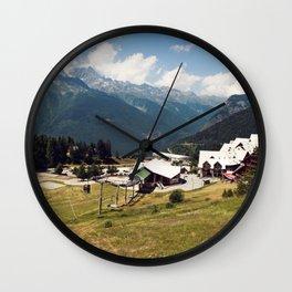 A Skilift Among French Alpine Mountains Wall Clock