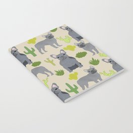 Frenchie french bulldog grey cactus desert southwest dog breed by pet friendly Notebook