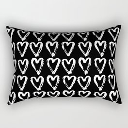 Black & White-Love Heart Pattern-Mix & Match with Simplicty of life Rectangular Pillow