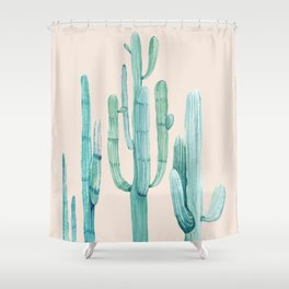 Three Amigos Turquoise + Coral Shower Curtain