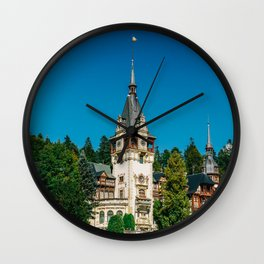 Peles Palace In Transylvania, Architecture Photography, Medieval Castle, Mountain Landscape, Romania Wall Clock