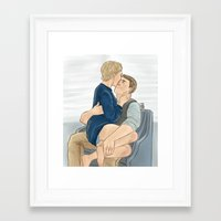 cuddle Framed Art Prints featuring Cuddle by nicolebrander