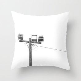 Travel photography street lamp at night black & white Throw Pillow