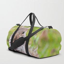 Gray squirrel eating a hazelnut Duffle Bag