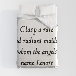 Poe The Raven Lenore Quote Gothic Duvet Cover
