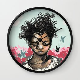Girl with Butterfles Wall Clock