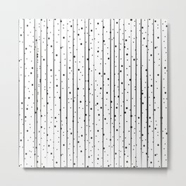 Abstract black and white pattern, dots and stripes vertical Metal Print