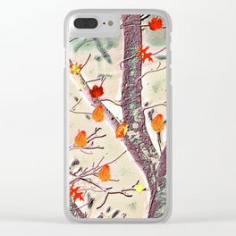 Whimsical Dancing Leaves Against Textured Trees Clear iPhone Case
