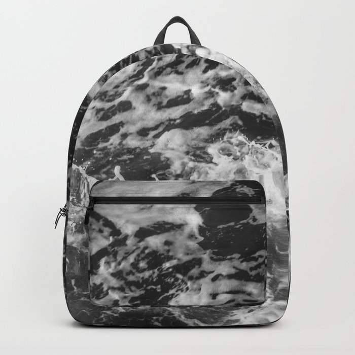Black and white waves Backpack