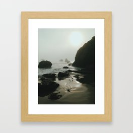 Bird on Foggy Beach Framed Art Print