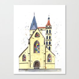 Gothic Church in Germany whimsical watercolor painting Canvas Print