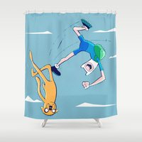 finn and jake Shower Curtains featuring Finn and Jake Adventure in the Sky by Twisted Dredz