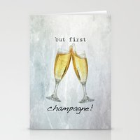 champagne Stationery Cards featuring Champagne! by mJdesign