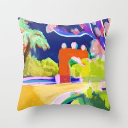 Summer Road Abstract Landscape Throw Pillow