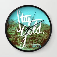 stay gold Wall Clocks featuring Stay Gold by Don Pekin