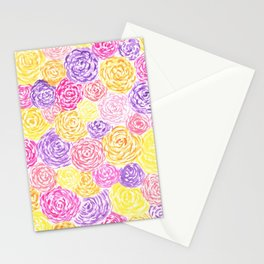 Watercolor Painted Flowers Stationery Cards