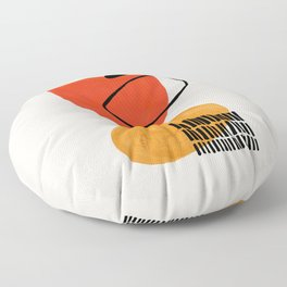 Orbital Fusion Yellow Orange Retro Mid Century Funky Fun Shapes Pattern by Ejaaz Haniff Floor Pillow