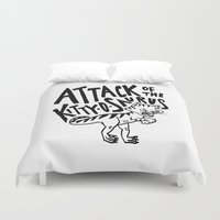 trex Duvet Covers featuring The Attack of Kitty-o-Saurus! by Leah Flores