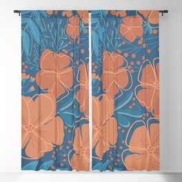 Tropical Flowers and Leaves Botanical in Terracotta Burnt Orange and Turquoise Teal Blue Blackout Curtain