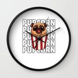 Popcorn dog Pug Puppy sweet dog owner Wall Clock