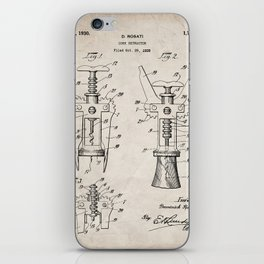 Cork Screw Patent - Wine Art - Antique iPhone Skin