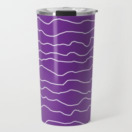 Purple with White Squiggly Lines Travel Mug