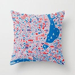 Hamburg City Map Poster Throw Pillow