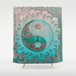 Pretty Chic Teal Tree of Life with Yin Yang and Heart Shower Curtain