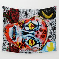day of the dead Wall Tapestries featuring Day Of The Dead by Pluto00Art / Robin Brennan