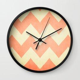 Fuzzy Navel - Peach Chevron Wall Clock