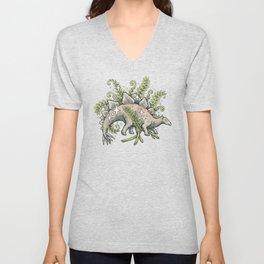 Stegosaurus & Ferns | Dinosaur Botanical Art Unisex V-Neck