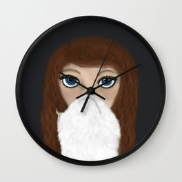 Curly Haired Crazy Cat Lady Wall Clock