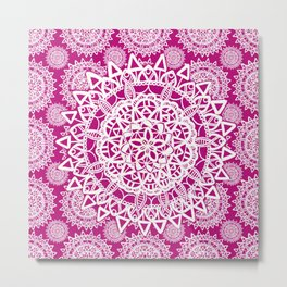 Pink and White Patterned Mandala Textile Metal Print