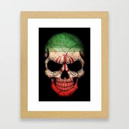 Dark Skull with Flag of Iran Framed Art Print