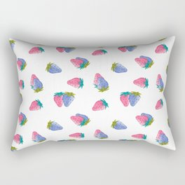 Watercolor Strawberry Toss Rectangular Pillow