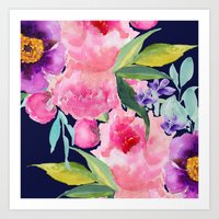 craftberrybush Art Prints featuring Floral blue by craftberrybush
