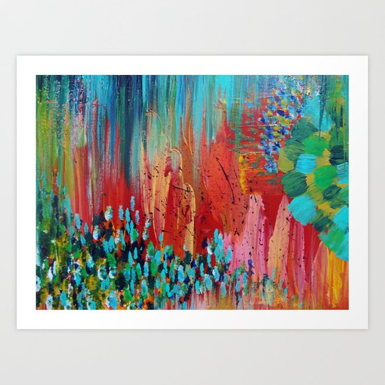 REVISIONED RETRO - Bright Bold Red Abstract Acrylic Colorful Painting 70s Vintage Style Hip 2012 Art Print