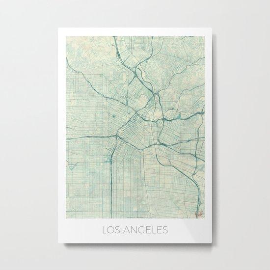 Los Angeles Map Blue Vintage Metal Print