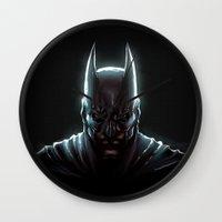 bat man Wall Clocks featuring BAT MAN - bat man by Raisya