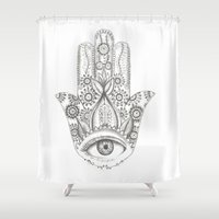 hamsa Shower Curtains featuring Hamsa by Erzaguri