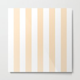 Bisque pink - solid color - white vertical lines pattern Metal Print