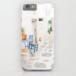 Beautiful Street Scene in Mykonos, Greece iPhone Case