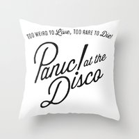 panic at the disco Throw Pillows featuring Panic! At The Disco Album Artwork by marinasdiamonds