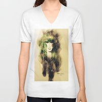 emerald V-neck T-shirts featuring Emerald by Cornelia Baciu